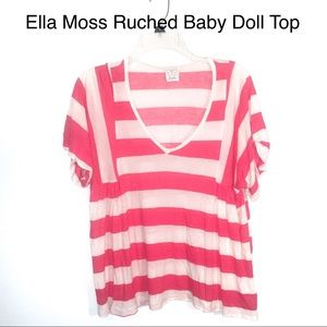 Anthropologie Ella Moss Striped Ruched Baby Doll-L